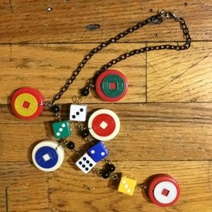 Artist Made Jewelry - Backgammon and dice necklace artist made